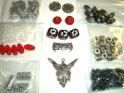 junesgems antiqued silver metal angel red lampwork glass plastic and sea glass bead lot