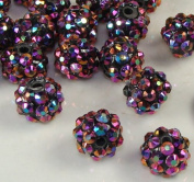 12mm Rhinestone Bead Purple 20 Pieces Basketball Wives