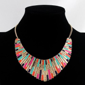Hot Selling Fashion Equisite Colourful Enamel Alloy Bib Chain Necklace Costume Jewellery