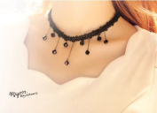 Black fashion lovely Aesthetic Lace with droplets beads Necklace / Chain----(With Cutely Gift Box)---Awesome gift for Holidays--. From USA--takes 2-6 working days with shelley.kz INC-------