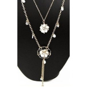 Gold Plated Beautiful Sparkling Crystal Flowers with Shell Double Long Necklace Pendant / Sweater Chain--(With Cutely Gift Box)-----. From USA--takes 2-6 working days with shelley.kz INC-------