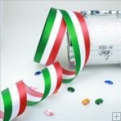 3.8cm x 50 Yards -Tri Stripe Red, White and Green Satin Ribbon 100% Polyester
