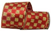 Renaissance 2000 Ribbon, 10cm , Red and Gold Glitter Checker on Red