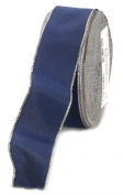 Ampelco Ribbon Company Silver Wired 27-Yard Taffeta Ribbon, 3.8cm , Navy Blue