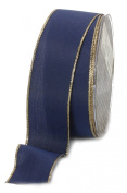 Ampelco Ribbon Company Gold Wired 27-Yard Taffeta Ribbon, 3.8cm , Navy Blue
