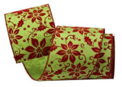 Renaissance 2000 Ribbon, 10cm , Green with Red Poinsettia