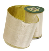 Renaissance 2000 Ribbon, 10cm , Cream Velvet with Gold Lame Back