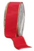 Ampelco Ribbon Company Gold Wired 27-Yard Taffeta Ribbon, 3.8cm , Red