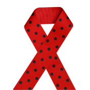 1 1/2 Inch 38mm Printed Grosgrain Ribbon, Black Polka Dot on Red,100 Yards on Spool