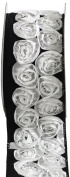Kel-Toy Dimensional Rose Ribbon, 6.4cm by 10-Yard, White Rosettes on Black Ribbon