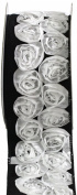 Kel-Toy Dimensional Rose Ribbon, 6.4cm by 10-Yard, White Rosettes on Black Ribbon