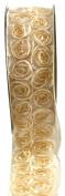 Kel-Toy Dimensional Rose Ribbon, 6.4cm by 10-Yard, Ivory