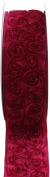 Kel-Toy Dimensional Rose Ribbon, 6.4cm by 10-Yard, Red Rosettes on Chocolate Ribbon