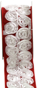 Kel-Toy Dimensional Rose Ribbon, 6.4cm by 10-Yard, White Rosettes on Red Ribbon