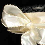 Designer Creamy Ivory Wired Pearl Edge Satin Craft Ribbon 5.1cm x 20 Yards