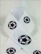 Schiff Ribbons 44402-5 100-Yard Grosgrain Soccer Ball Ribbon, 2.2cm , White/Black