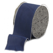 Ampelco Ribbon Company Silver Wired 27-Yard Taffeta Ribbon, 6.4cm , Navy Blue