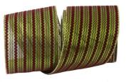 Renaissance 2000 Ribbon, 10cm , Burgundy Velvet with Green Metallic Zigzag and Gold Edge
