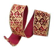 Renaissance 2000 Ribbon, 10cm , Burgundy Velvet with Antique Gold Fleur De Lis