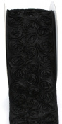 Kel-Toy Dimensional Rose Ribbon, 10cm by 10-Yard, Black