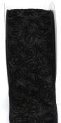Kel-Toy Dimensional Rose Ribbon, 10cm by 10-Yard, Black