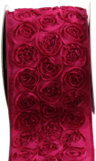 Kel-Toy Dimensional Rose Ribbon, 10cm by 10-Yard, Fuchsia