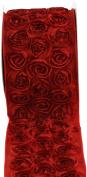 Kel-Toy Dimensional Rose Ribbon, 10cm by 10-Yard, Red