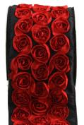 Kel-Toy Dimensional Rose Ribbon, 10cm by 10-Yard, Red Rosettes on Black Ribbon