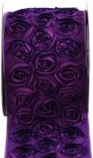 Kel-Toy Dimensional Rose Ribbon, 10cm by 10-Yard, 2-Tone Purple/Violet