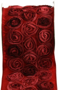 Kel-Toy Dimensional Rose Ribbon, 10cm by 10-Yard, Multicoloured Rosettes on Red Ribbon