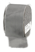Ampelco Ribbon Company Silver Wired 27-Yard Taffeta Ribbon, 6.4cm , Silver Grey