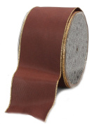 Ampelco Ribbon Company Gold Wired 27-Yard Taffeta Ribbon, 6.4cm , Chocolate