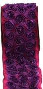 Kel-Toy Dimensional Rose Ribbon, 10cm by 10-Yard, Purple Rosettes on Fuchsia Ribbon