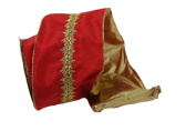 Renaissance 2000 Ribbon, 10cm , Red Satin with Middle Gold Lace