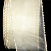Designer Creamy Ivory Wired Pearl Edge Sheer Craft Ribbon 7.6cm x 20 Yards