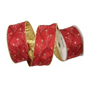 Renaissance 2000 Ribbon, 6.4cm by 10-Yard, Red Satin with Ornament