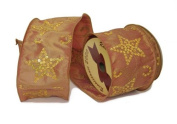 Renaissance 2000 Ribbon, 10cm , Copper Satin with Sequined Stars