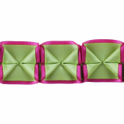 Boxed Pleated Ribbon 100-Percent Polyester Ribbon, Green/Pink