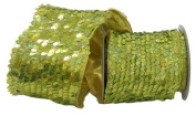 Renaissance 2000 Ribbon, 10cm , Lime Green Sequin with Gold Lame Back