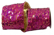 Renaissance 2000 Ribbon, 10cm , Fuchsia Sequin with Gold Lame Back