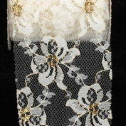 Designer Pure White Floral Lace Craft Ribbon 7.6cm x 27 Yards