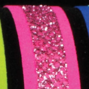 Velvet Bands of Glitter Pink Wired Craft Ribbon 1.6cm x 60 Yards