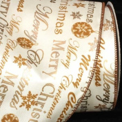 """""""Merry Christmas"""" Printed Gold and White Wired Craft Ribbon 13cm x 20 Yards"""