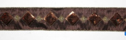 Chocolate Brown Diamond Sequins Floral, Craft & Christmas Ribbon 6.4cm x 20 Yards