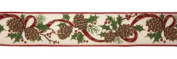 Elegant Holly and Pine Wired Floral, Craft and Christmas Ribbon 6.4cm x 60 Yards