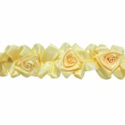 Floral Ribbon Gathered 100-Percent Polyester Ribbon, Beige