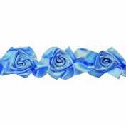 Floral Ribbon Gathered 100-Percent Polyester Ribbon, Blue