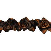 Floral Ribbon Gathered 100-Percent Polyester Ribbon, Choclate