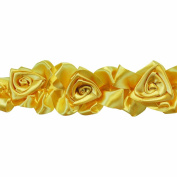 Floral Ribbon Gathered 100-Percent Polyester Ribbon, Gold