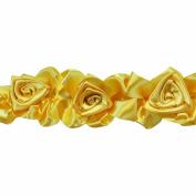 Floral Ribbon Gathered 100-Percent Polyester Ribbon, Gold
